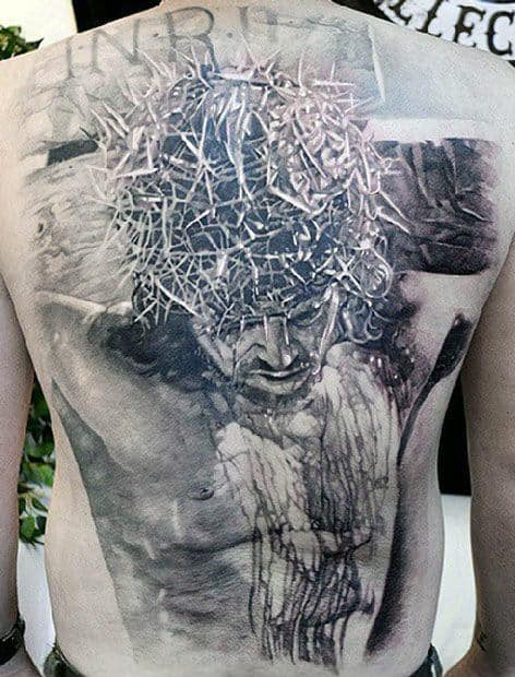 Realistic 3d Guys Crown Of Thorns Jesus Full Back Cross Tattoos