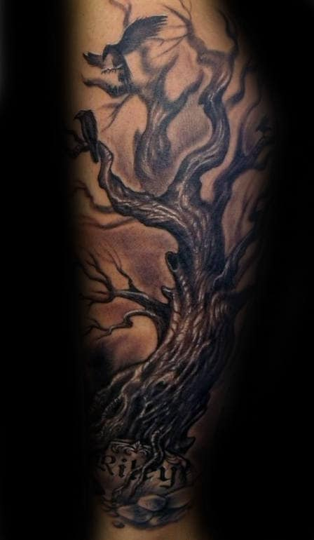 Realistic 3d Guys Family Tree With Carved Stone Forearm Sleeve Tattoos