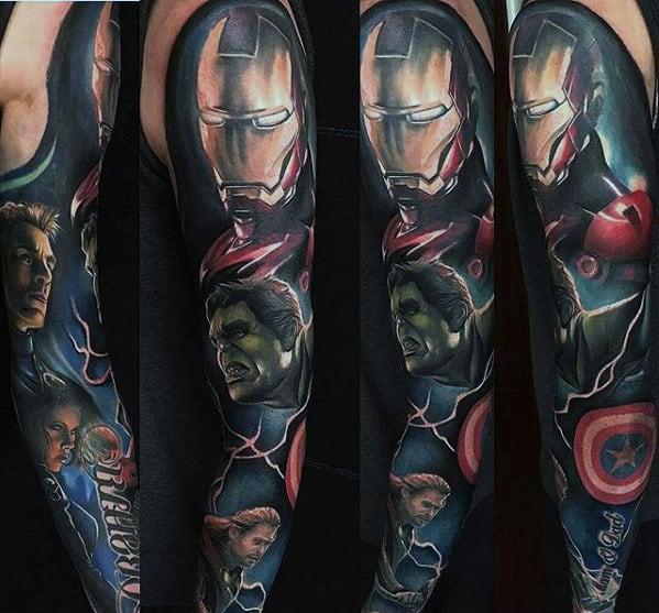Realistic 3d Guys Full Sleeve Marvel Tattoos