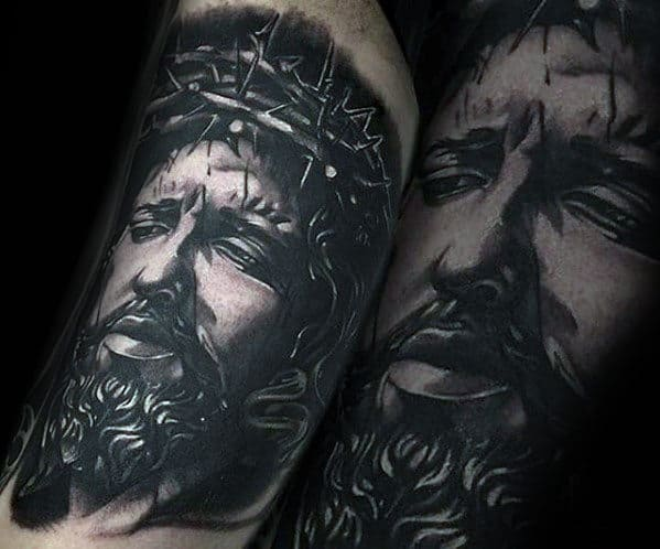 Realistic 3d Guys Shaded Tattoo Design Of Jesus On Arm