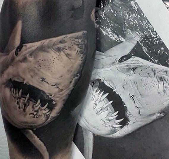 Realistic 3d Guys Shark Sleeve Tattoo
