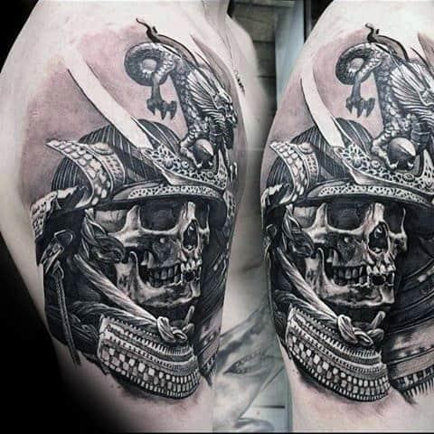 Realistic 3d Guys Skull With Samurai Helmet Mens Arm Tattoos