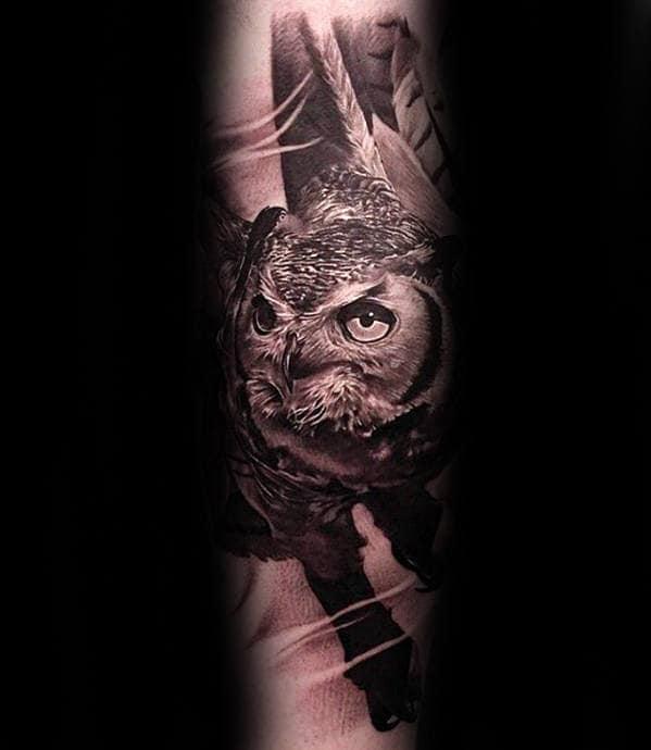 Realistic 3d Guys Unique Owl Forearm Tattoo Designs