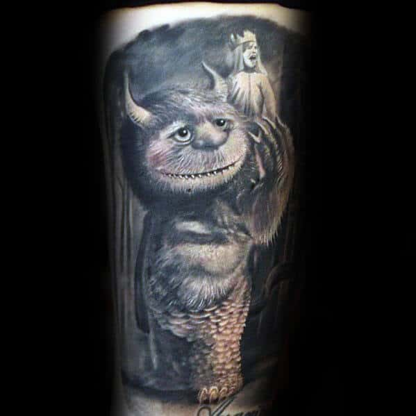 Realistic 3d Guys Where The Wild Things Are Shaded Arm Tattoo