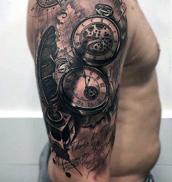 Realistic 3d Half Sleeve Guys Tattoos With Quill Map And Pocket Watch Design