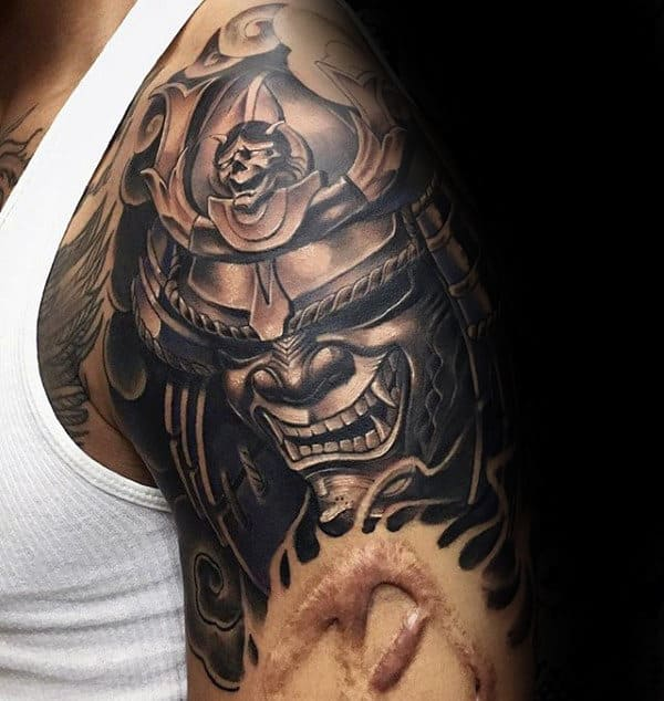 Realistic 3d Hannya Mask Mens Half Sleeve Tattoo Ideas