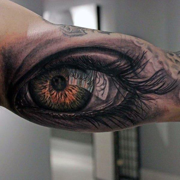 Realistic 3d Human Eye Guys Inner Arm Tattoos