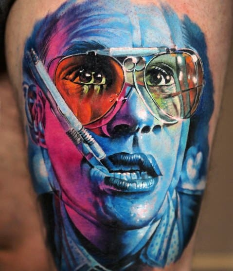 Realistic 3d Hunter S Thompson Mens Tattoos