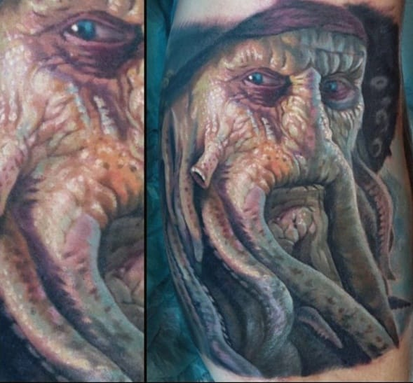 Realistic 3d Inner Arm Bicep Davy Jones Tattoo Ideas On Guys