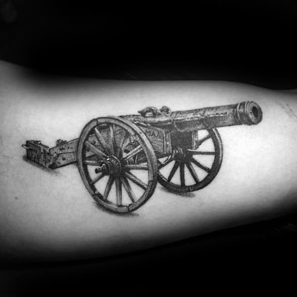Realistic 3d Inner Arm Bicep Male Cannon Tattoo Design Inspiration