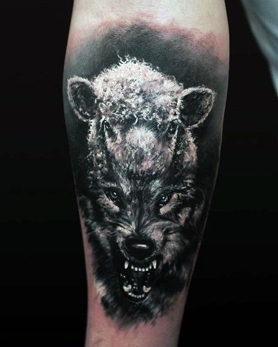 Realistic 3d Inner Forearm Sheep Guys Tattoo Designs