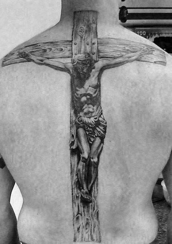 Realistic 3d Jesus On The Cross Wood Mens Back Tattoo Designs