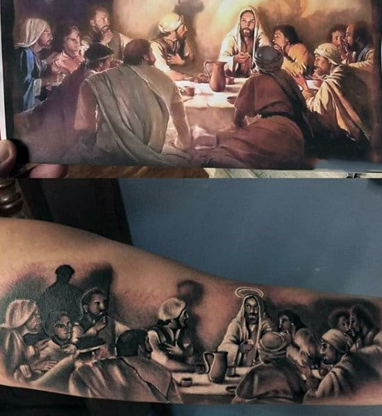 Realistic 3d Last Supper Guys Tattoos