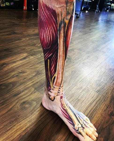 Realistic 3d Leg Muscle Anatomical Tattoo For Men