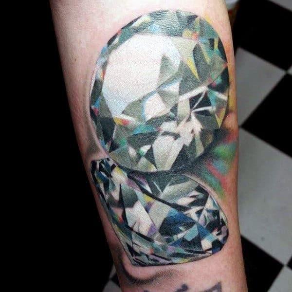 Realistic 3d Lustrous Diamond Mens Arm Tattoos