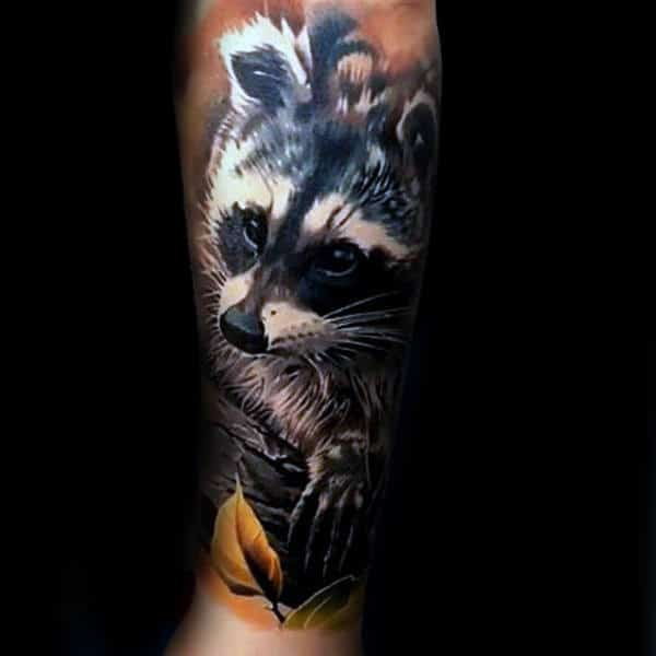 Realistic 3d Male Raccoon Sleeve Tattoos