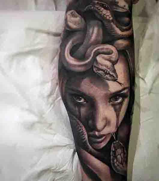 Realistic 3d Medusa Guys Tattoos On Forearm