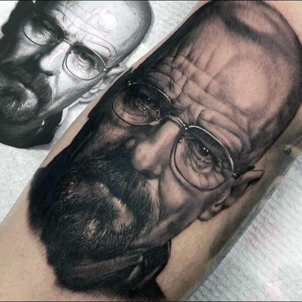 Realistic 3d Mens Breaking Bad Walter White Arm Tattoos