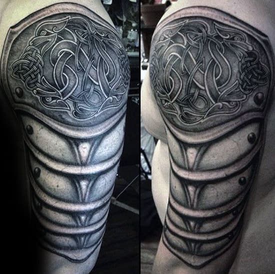 Realistic 3d Mens Celtic Knot Armor Tattoo On Arm