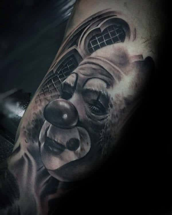 Realistic 3d Mens Clown Quarter Sleeve Tattoo Designs