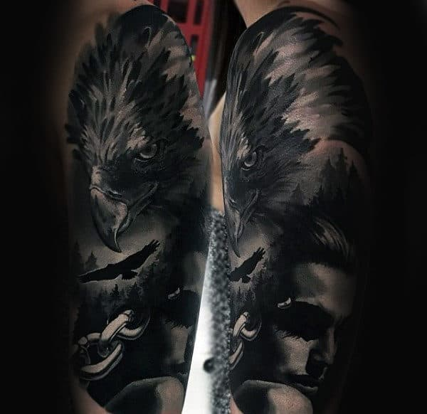 Realistic 3d Mens Crow Half Sleeve Tattoo Ideas