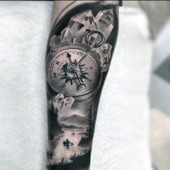 Realistic 3d Mens Crystal And Compass Nature Themed Sleeve Tattoos