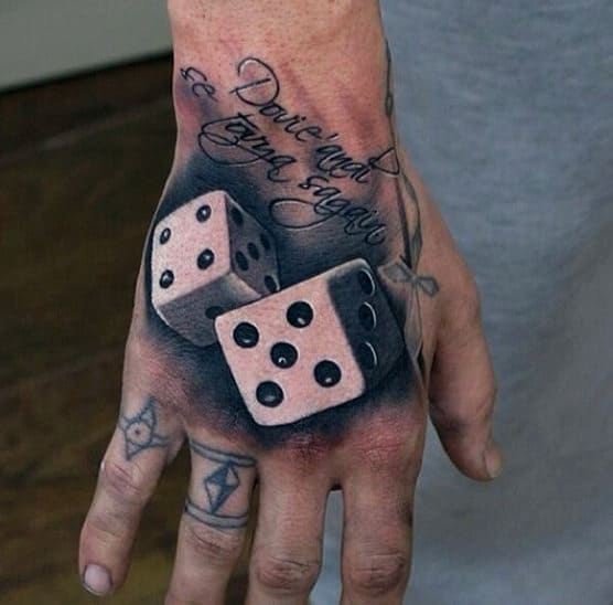 Realistic 3d Mens Dice Tattoo On Hands