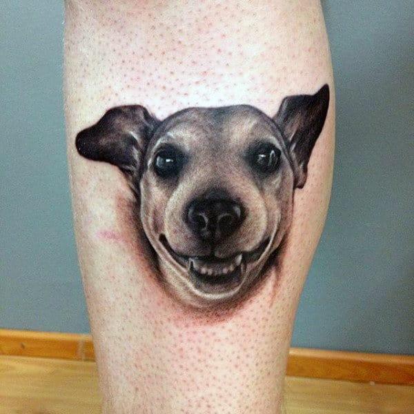 Realistic 3d Mens Dog Tattoo Leg Calf