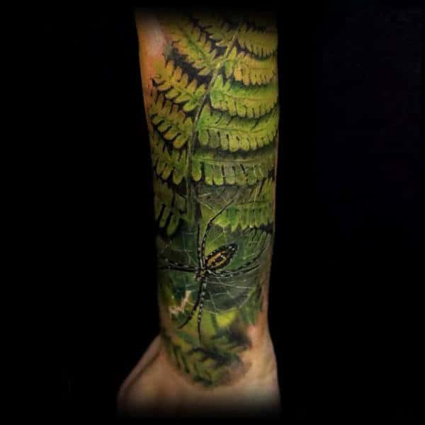 Realistic 3d Mens Fern Forearm Sleeve Tattoo With Spider Design