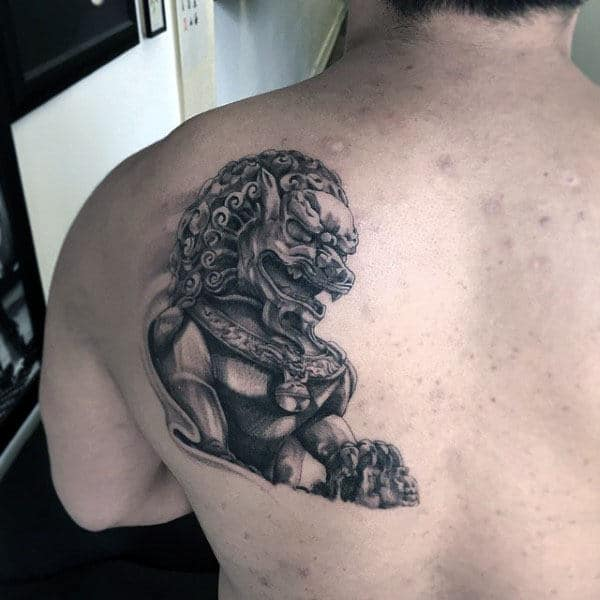 Realistic 3d Mens Foo Dog Statue Back Tattoo