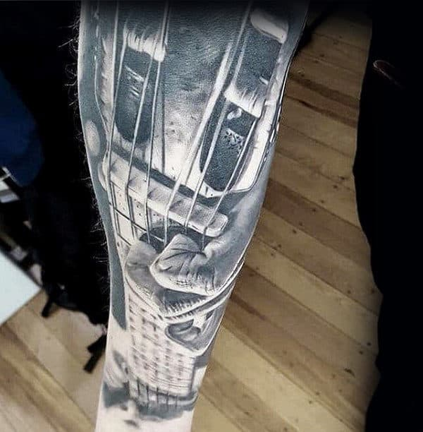 Realistic 3d Mens Forearm Sleeve Hands Playing Guitar Music Tattoo