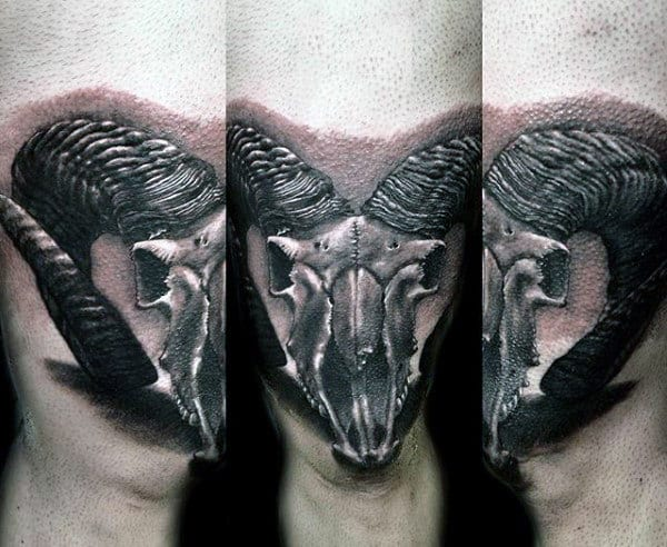 Realistic 3d Mens Goat Skull Leg Tattoo Designs
