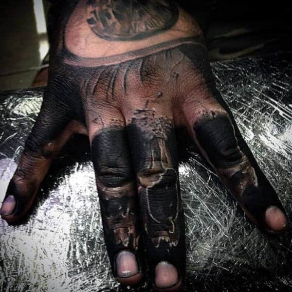 Realistic 3d Mens Knuckle Tattoo Of Skull
