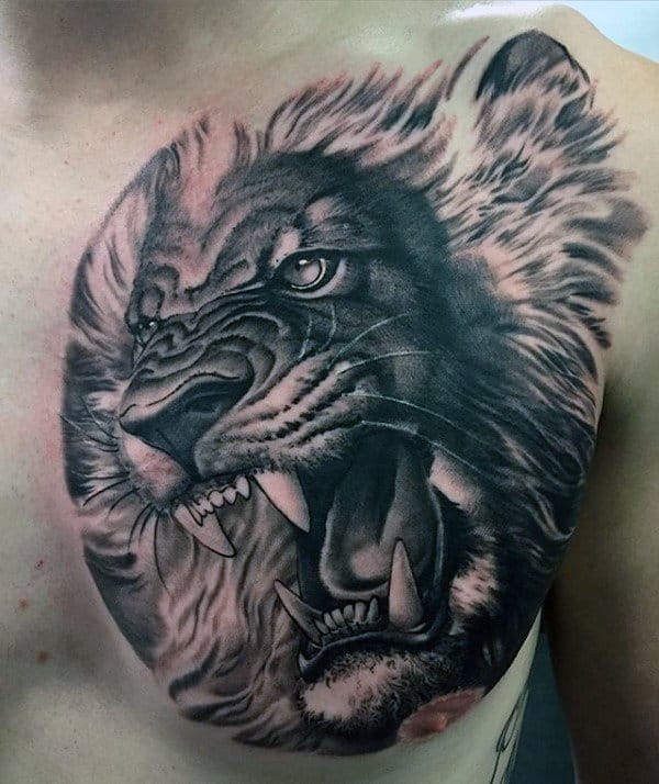 Realistic 3d Mens Lion Roaring Shaded Chest Tattoo