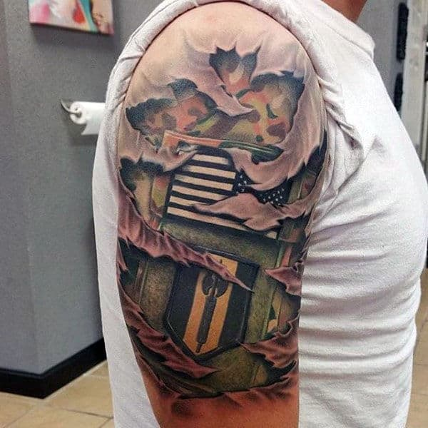 Realistic 3d Mens Military Camouflage Torn Skin Tattoo With Army Patches Half Sleeve Design