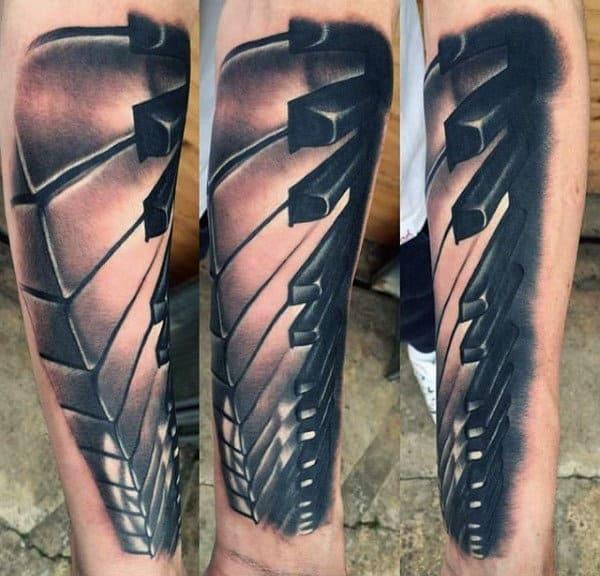 Realistic 3d Mens Piano Keys Forearm Tattoos