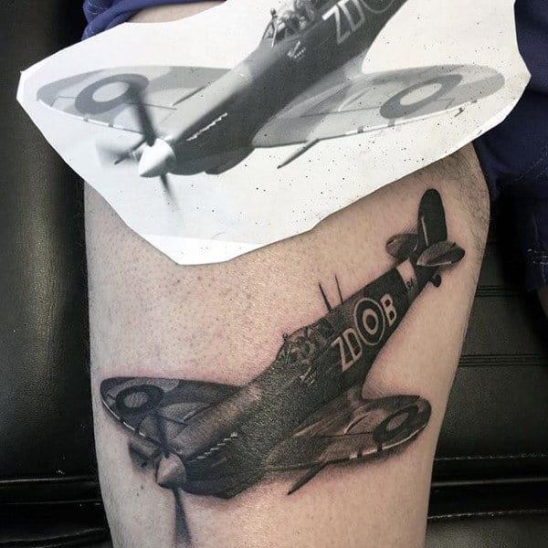 Realistic 3d Mens Plane Ww2 Tattoo On Thigh