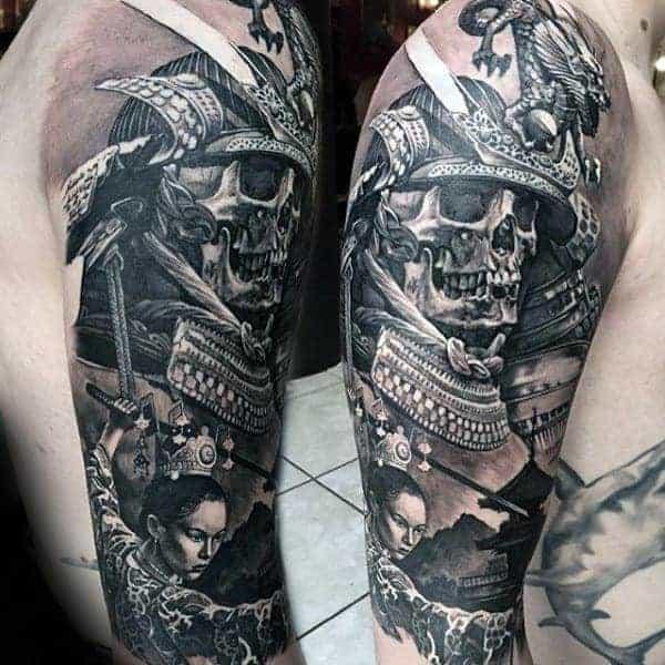 realistic-3d-mens-samurai-helmet-skull-half-sleeve-tattoo-1