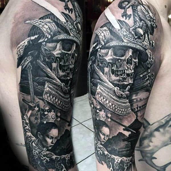 realistic-3d-mens-samurai-helmet-skull-half-sleeve-tattoo