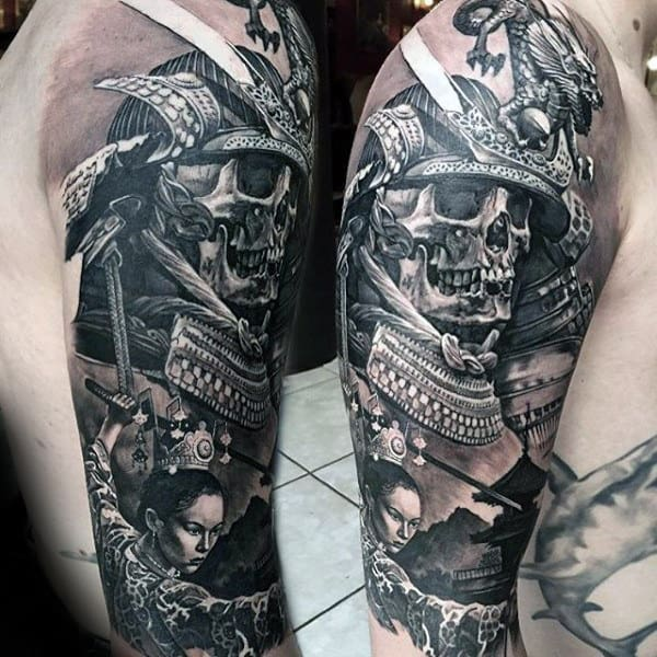 Realistic 3d Mens Samurai Helmet Skull Half Sleeve Tattoo
