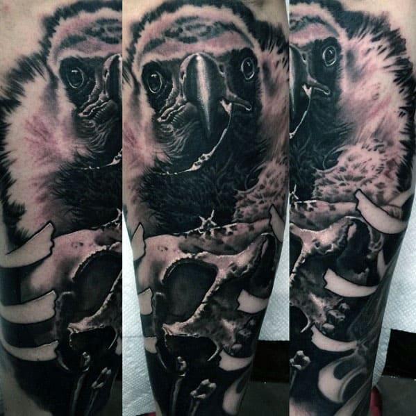 Realistic 3d Mens Vulture Leg Sleeve Tattoo Design Ideas
