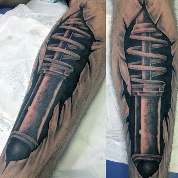 Realistic 3d Motocross Shock Leg Tattoo With Torn Skin Design