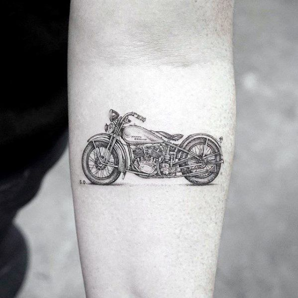 Realistic 3d Motorcycle Guys Coolest Small Inner Forearm Tattoo