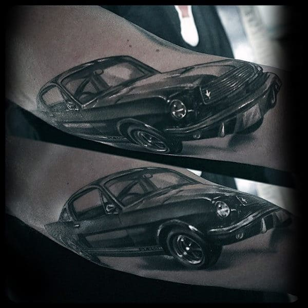Realistic 3d Mustang Mens Arm Tattoo