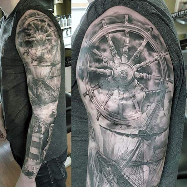 Realistic 3d Nautical Shaded Black And Grey Ink Guys Sleeve Tattoos