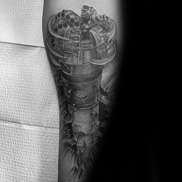 Realistic 3d Oilfield Drill Mens Forearm Tattoo Designs