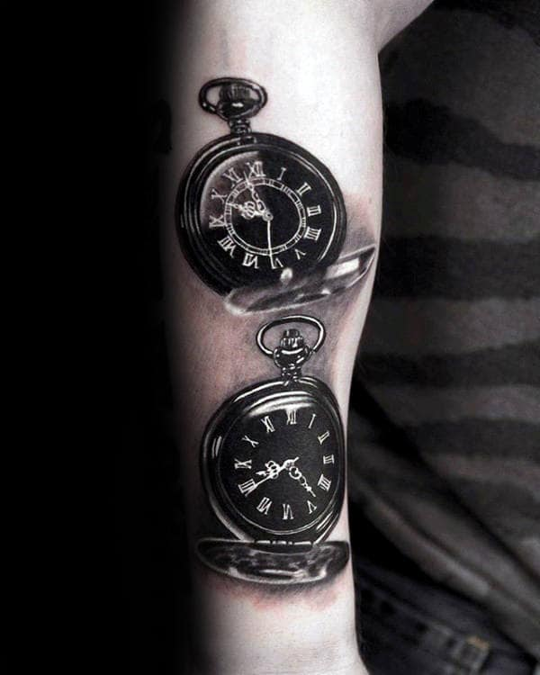 Realistic 3d Pocket Watches Mens Roman Numeral Forearm Tattoos