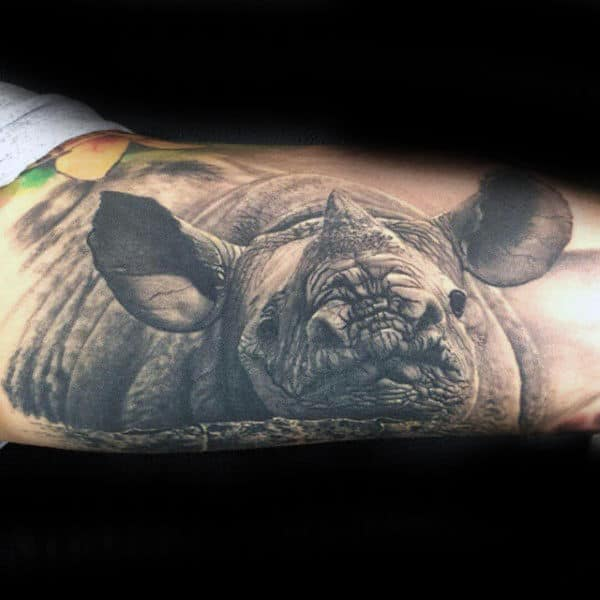 Realistic 3d Rhino Male Arm Tattoo Design Inspiration