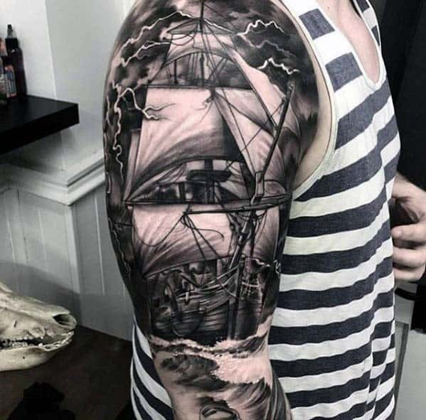 Realistic 3d Sailing Ship Nautical Guys Half Sleeve Tattoos
