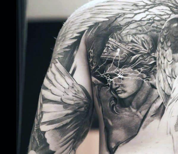 Realistic 3d Shaded Shoulder And Arm Male Valkyrie Tattoo